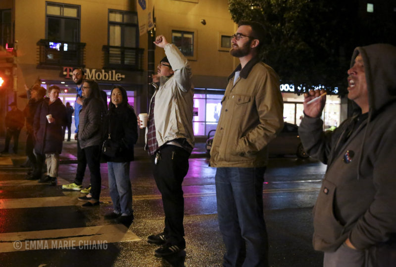 Demonstrators block off 17th and Valencia streets in front of the Mission Police Station. Photo: Emma Marie Chiang