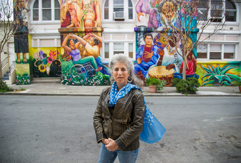 Muralist Juana Alicia at the Women's Building in San Francisco on Mar. 20, 2017. She created this mural on this building with 6 other artists in 1994. Photo: Beth LaBerge