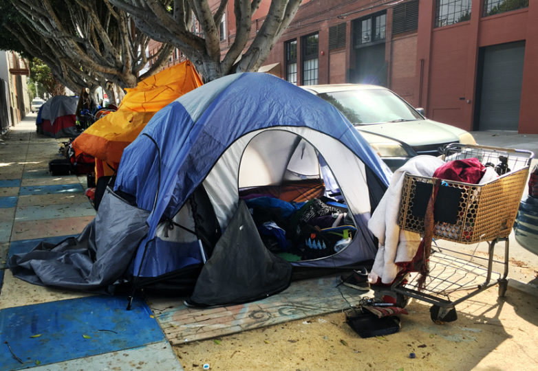The tent on Shotwell between 18th and 19th streets that belonged to 45-year-old Luis Góngora Pat, who was fatally shot by SFPD on April 7 2016. Photo Joel Angel Juárez