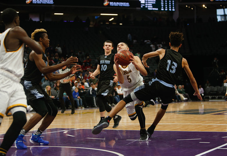 Mission Bears guard Jayden Foston (5) finds his way to the hoop as the Mission Bears take on the Villa Park Spartans in the 2017 CIF Division III State Basketball Championships at the Golden 1 Center in Sacramento, Calif., on Friday, March 24, 2017. Photo: Scot Tucker/SFBay.ca