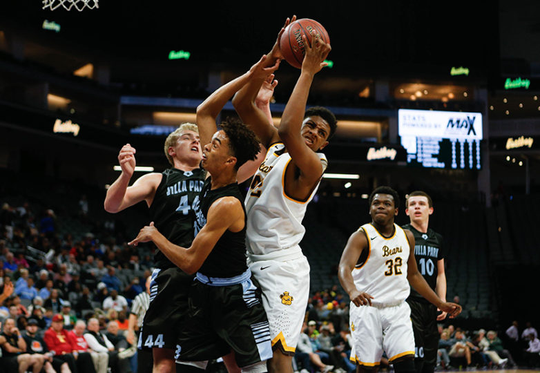 Mission Bears forward Faraji Abram (42) snags a rebound as the Mission Bears take on the Villa Park Spartans in the 2017 CIF Division III State Basketball Championships at the Golden 1 Center in Sacramento, Calif., on Friday, March 24, 2017. Photo: Scot Tucker/SFBay.ca