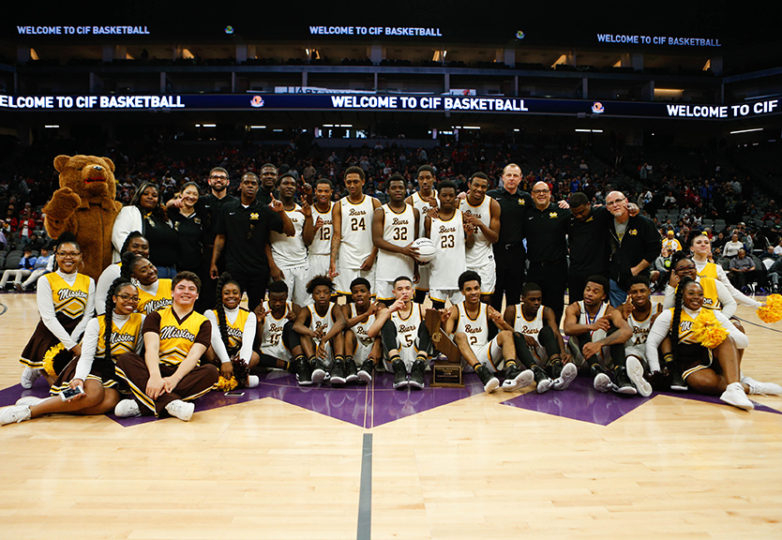 The Mission Bears pose for a portrait after a 82-75 victory over the Villa Park Spartans in the 2017 CIF Division III State Basketball Championships at the Golden 1 Center in Sacramento, Calif., on Friday, March 24, 2017. Photo: Scot Tucker/SFBay.ca
