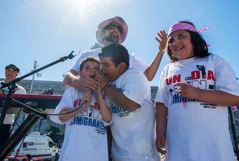 "Thousands gathered and celebrated in front of Civic Center on Monday, May 1 after marching in the ""A Day Without Immigrants"" Rally. Photo: Desiree Rios"