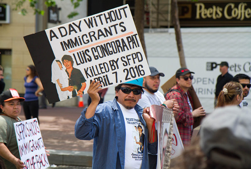 Carlos Poot, cousin of Luis Gongora, who was shot by SFPD on April 2016, marches during May Day rally A Day Without Immigrants. Photo: Drago Rentería