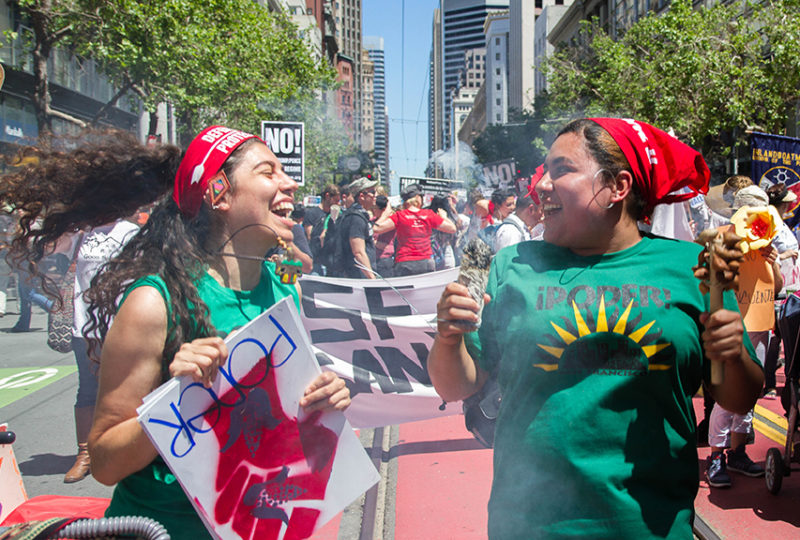 "Thousands march on Market Street, from Embarcadero to Civic Center on Monday, May 1, ""A Day Without Immigrants"" Rally. Photo: Drago Rentería"