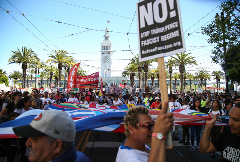 "Thousands gather to rally at Justin Herman Plaza to march down Market Street for the ""A Day Without Immigrants"" May Day rally on May 1, 2017. Photo: Emma Marie Chiang"