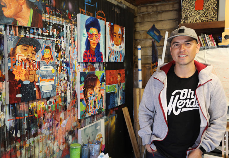 "Artist Sam Rodriguez poses for a portrait on May 12 in his San Jose studio, where he's been creating work for his upcoming ""Caras de la Misión"" exhibition at the Juan R. Fuentes Gallery. Photo: Elizabeth Gonzalez"