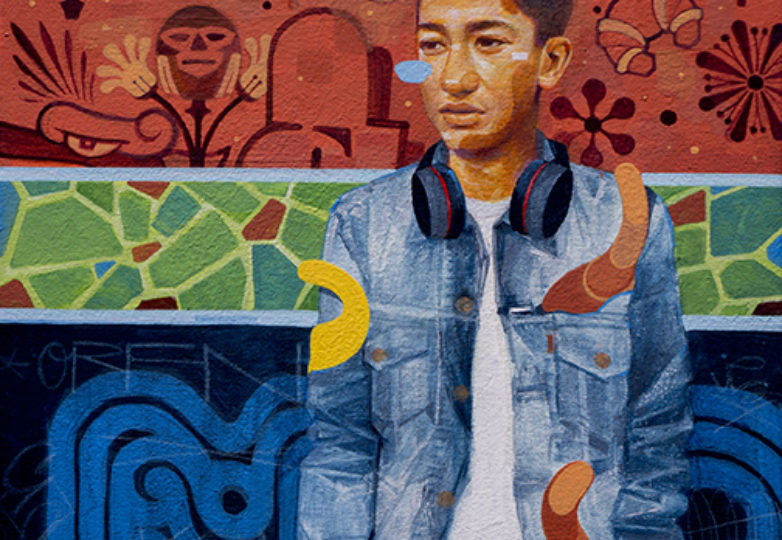 """One of the works that will be featured in the Samuel Rodriguez's """"Caras de la Misión"""" exhibit at the Juan R. Fuentes Gallery. (Oil on canvas)"""