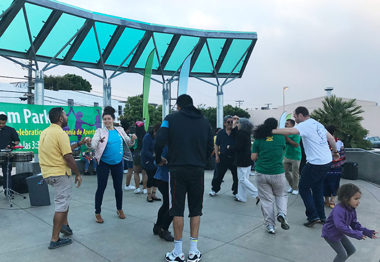 Community members celebrate the opening of the In Chan Kaajal park at 17th & Folsom streets. Photo courtesy: Poder SF