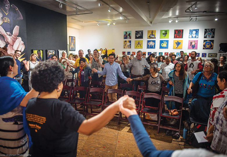 A musical and poetry performance at SoleSpace Oakland on May 4 during an event to honor Berta Caceres, the Honduran environmental activist who was murdered for her work. Photo: Brooke Anderson