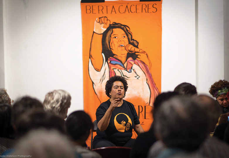 Melissa Cardoza at a musical and poetry performance at SoleSpace Oakland on May 4 during an event to honor Berta Caceres, the Honduran environmental activist who was murdered for her work. Photo: Brooke Anderson