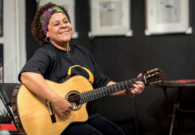 Karla Lara performs at an event in SoleSpace Oakland on May 4 during an event to honor Berta Caceres, the Honduran environmental activist who was murdered for her work. Photo: Brooke Anderson
