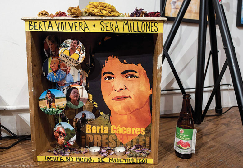 An altar honors Berta Caceres, at a recent event to celebrate her life at SoleSpace Oakland on May 4. Berta Caceres was a Honduran environmental activist who was murdered for her work. Photo: Brooke Anderson