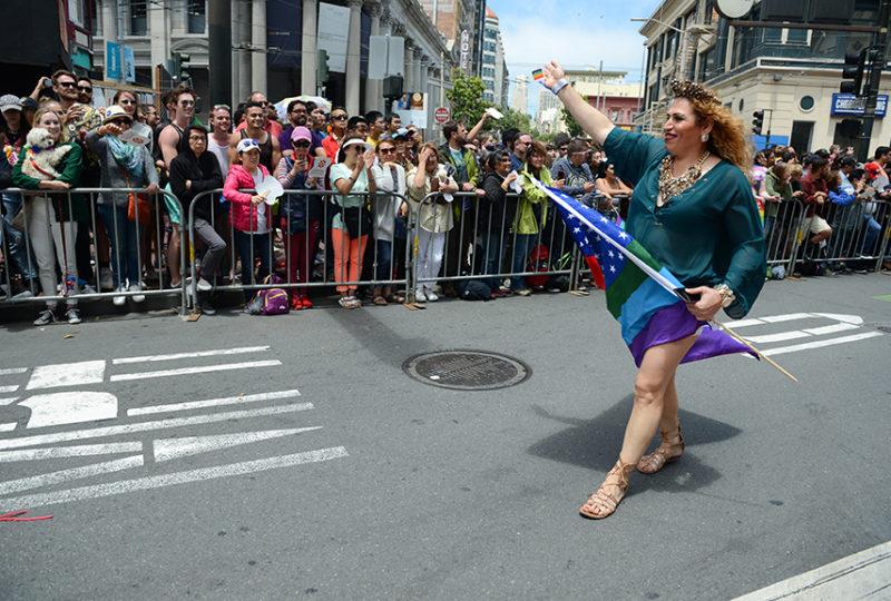 Jessy Ruiz interacts with parade attendees at the San Francisco Pride parade. Photo: Desiree Rios