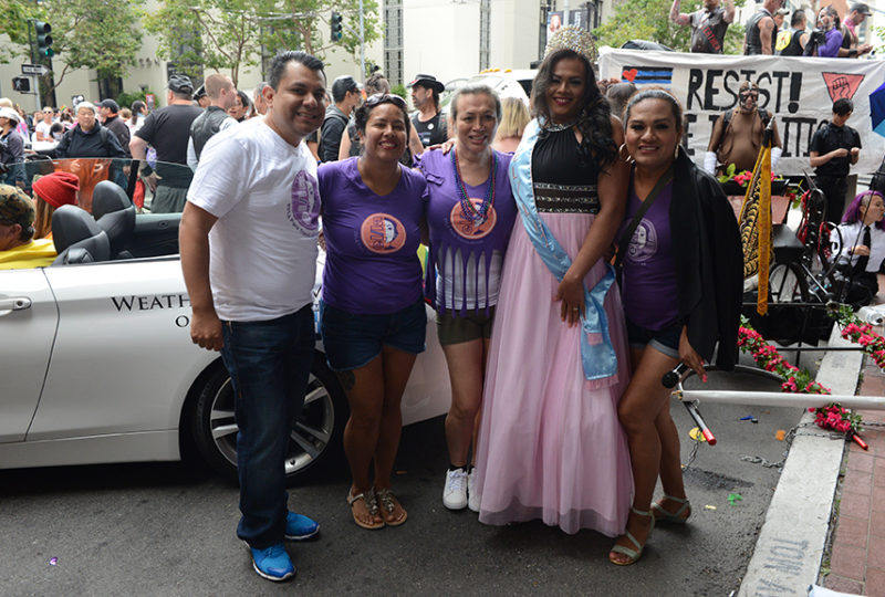 Staff and organizers of El/La Para Trans Latinas pose for a photo at the San Francisco Pride parade on Sunday, June 25. Photo: Desiree Rios