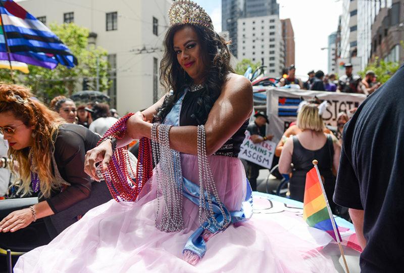 Yuritza Hernandez, Miss El/La 2017, prepares for the San Francisco Pride parade on Sunday, June 25. Photo: Desiree Rios