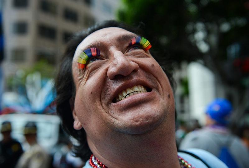 Byron Rivera poses for a photo at the San Francisco Pride parade. Photo: Desiree Rios