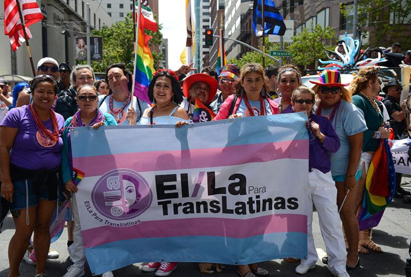 Members of El/La Para Trans Latinas pose for a photo at the San Francisco Pride parade. Photo: Desiree Rios
