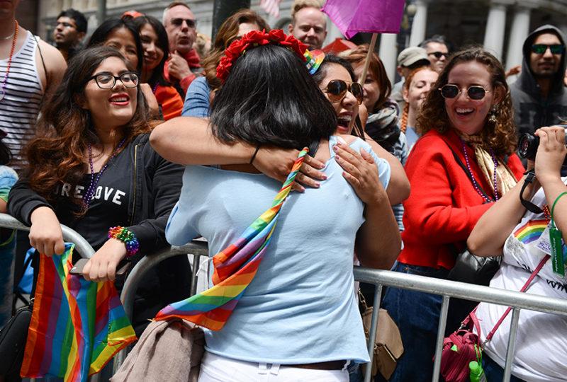 Sofia Sabrina Rios interacts with parade attendees at the San Francisco Pride parade. Photo: Desiree Rios