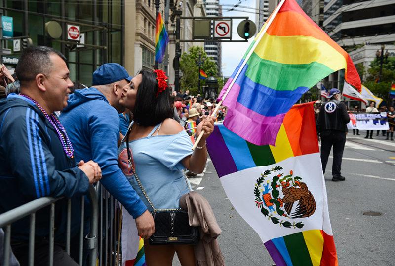 Sofia Sabrina Rios, member of El/La Para Trans Latinas, interacts with parade attendees at the San Francisco Pride parade. Photo: Desiree Rios