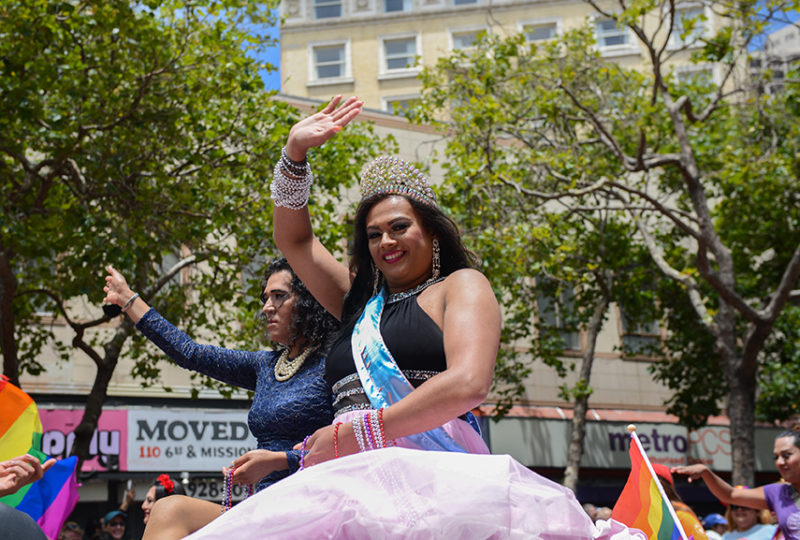 Yuritza Hernandez, Miss El/La 2017, and runner-up, Brisa Duenas wave to the crowd at the San Francisco Pride parade. Photo: Desiree Rios