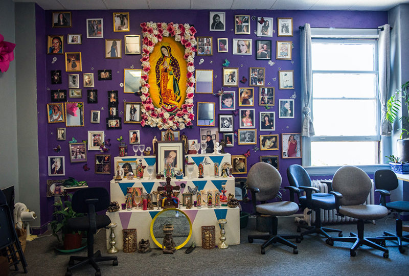 An altar dedicated to members of the transgender community, located at the El/La Para TransLatinas office on Friday, June 23. Photo: Desiree Rios