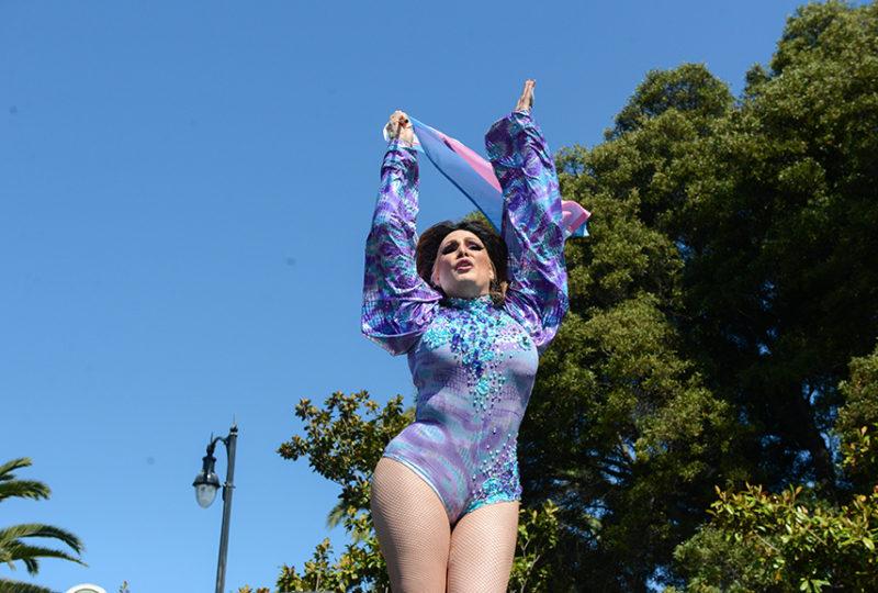 Alejandra De La Vega performs at the Trans March rally at Dolores Park. Photo: Desiree Rios
