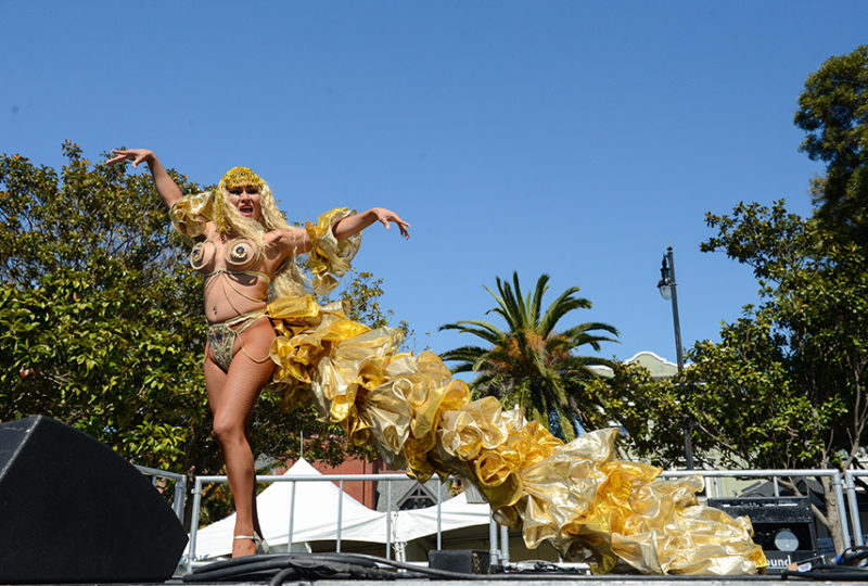Tania Dupree performs at the Trans March in Dolores Park on Friday, June 23.