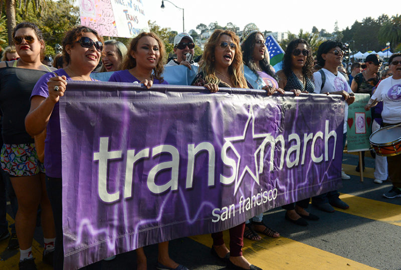 Members of El/La Para Trans Latinas initiate the Trans March at Dolores Park on Friday, June 23. Photo: Desiree Rios