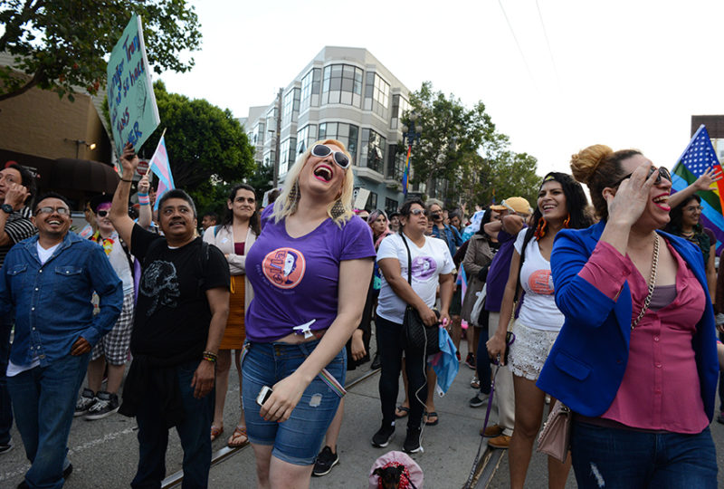 Members of El/La Para Trans Latinas and their supporters at Trans March in San Francisco. Photo: Desiree Rios