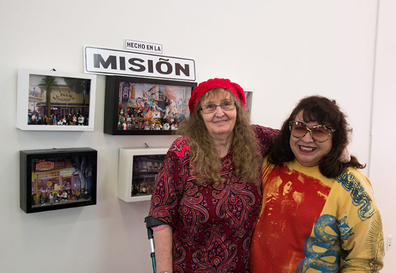 "Linda Wilson, El Tecolote photo archivist, and artist Cindy De Losa, co-curators of the upcoming ""Back in the Day: A Collective Memory of 24th Street"" exhibit which opens Aug. 12 at Acción Latina's Juan R. Fuentes Gallery. Photo: Mabel Jimenez"