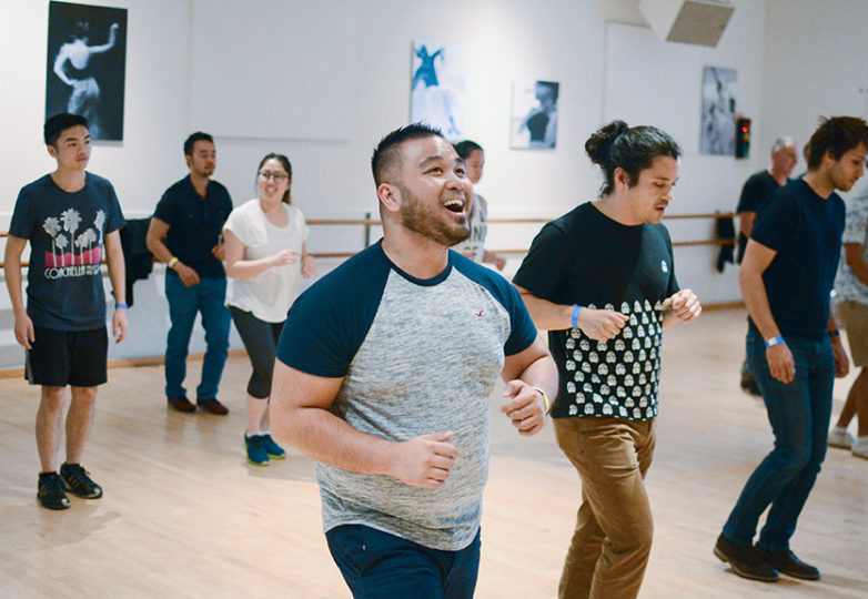 (Center) Bryan Fernandez, 28, a phlebotomist from San Francisco, dances in a beginner's-level class at the ODC dance studio on Friday, June 30, 2017. Photo: Aaron Levy-Wolins