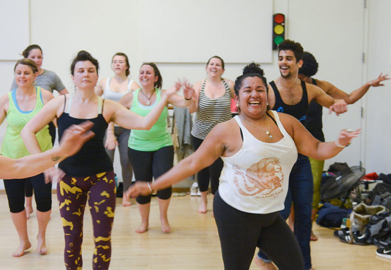 (Right) Monica Ascencio, 34, front desk assistant manager at ODC dance studio, celebrates her birthday on June 30 by dancing at the studio. Photo: Aaron Levy-Wolins