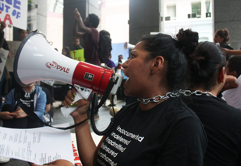 """Sandy, the California Immigrant Youth Justice Alliance's statewide coordinator, was one of eight demonstrators arrested on July 30, 2015 for refusing to leave the lobby at 1 Post St., Sen. Dianne Feinstein's San Francisco headquarters. Amid the aftermath of Kathryn Steinle's death, Feinstein had announced plans to introduce legislation that immigrant activists fear would violate the city's """"Sanctuary City"""" policies. Photo: Alexis Terrazas"""