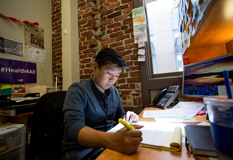 Wei Lee, ASPIRE program coordinator for the Asian Americans Advancing Justice, and Asian Law Caucus, at his office in San Francisco on July 10, 2017. Photo: Jessica Webb