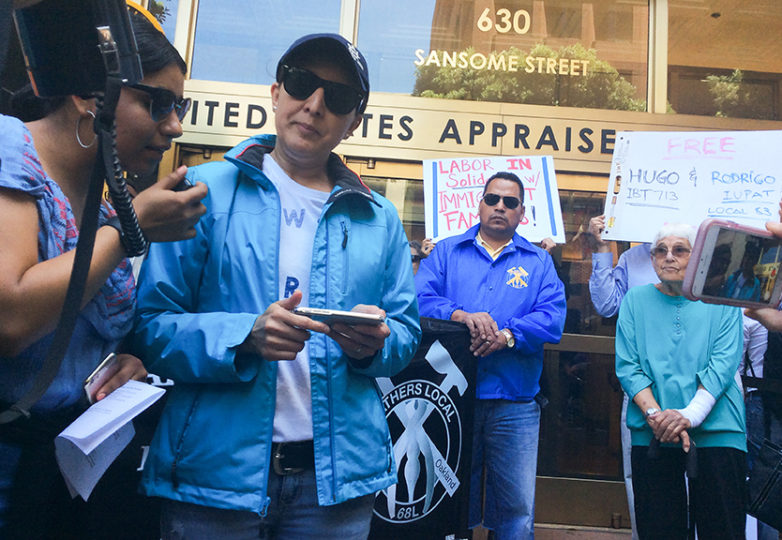 Yadira Munguia with Sandy, of the California Immigrant Youth Justice Alliance, on June 5, 2017, at a demonstration in support of Munguia's detained husband, Hugo Mejia outside the United States Citizenship and Immigration Services (USCIS) San Francisco field office. Photo: Alexis Terrazas