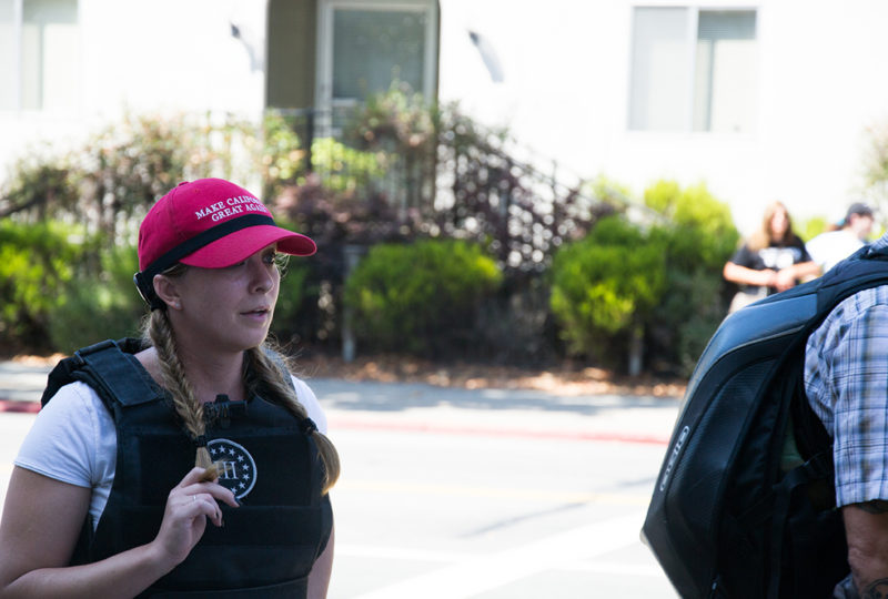 A Trump supporter outside MLK Civic Center in Berkeley, where the Anti-Marxist rally that was set to occur there was cancelled the day prior. Photo: Mabel Jimenez