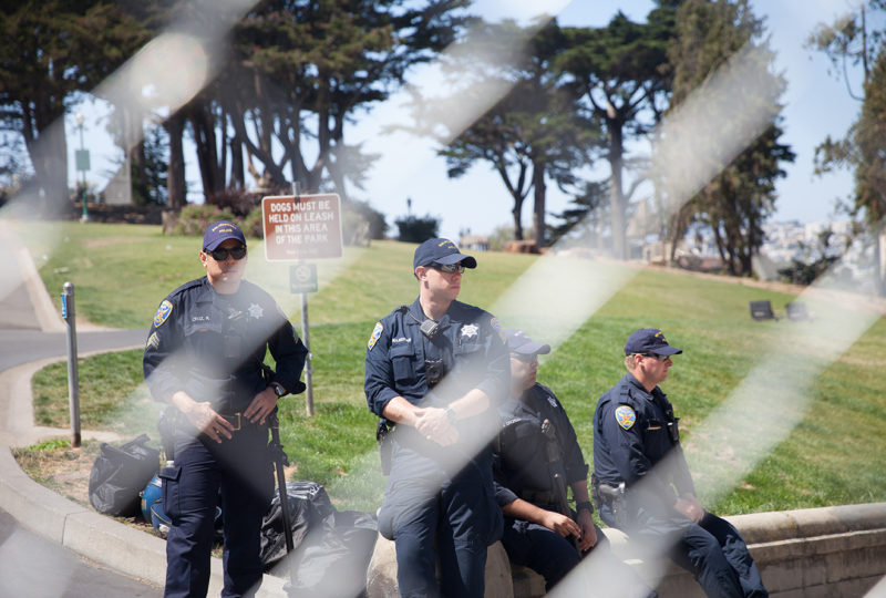 San Francisco police block all the access to Alamo Square in San Francisco in anticipation of an unauthorized presss conference called by Joey Gibson of Patrior Prayer, on Saturday afternoon, Aug. 26, 2017. (Photo by Ekevara Kitpowsong)