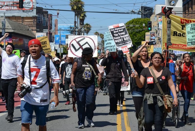 Hundreds of counter-protestors march down Mission street to protest a planned right-wing rally at Alamo Square Park in San Francisco, Ca on August 26, 2017.  (Photo by: Jocelyn Carranza)