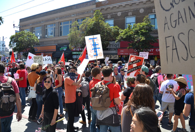 Demonstrators gather on 24th and Mission Streets after marching from Alamo Square, where a press conference by right-wing group Patriot Prayer was cancelled earlier that day, Saturday Aug. 26. Photo: Mabel Jimenez