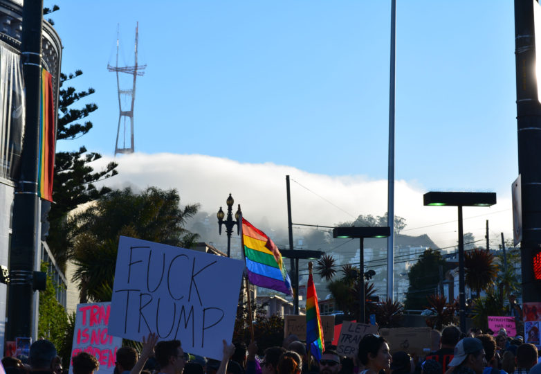 San Francisco's LGBTQ community reacts to Trump's threat to ban transgender people from the military on July 26, 2017. Photo: Jay Garcia