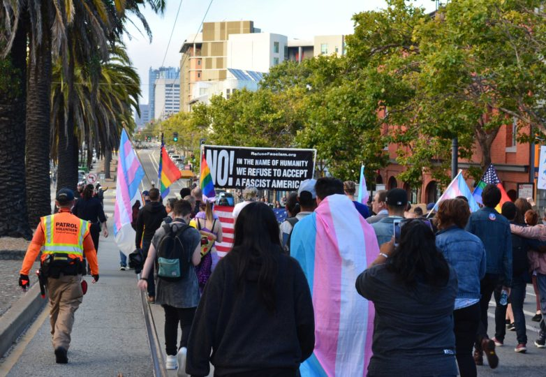 San Francisco's LGBTQ community marches from the Castro to City Hall in response to Trump's threat to ban transgender people from the military on July 26, 2017. Photo: Jay Garcia