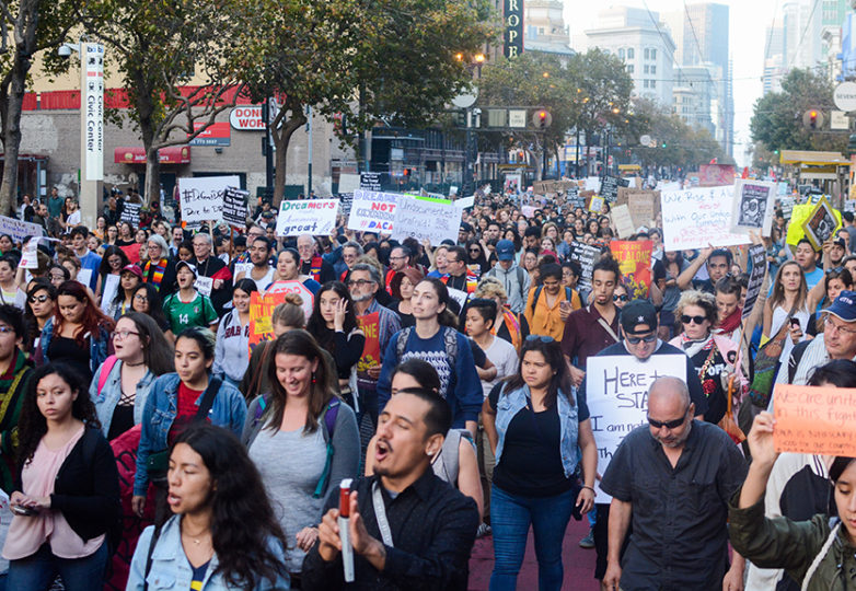 Protesters march down Market Street on Sept. 5 during an emergency DACA rally, following President Donald Trump's decision to end the program. Photo: Aaron Levy-Wolins