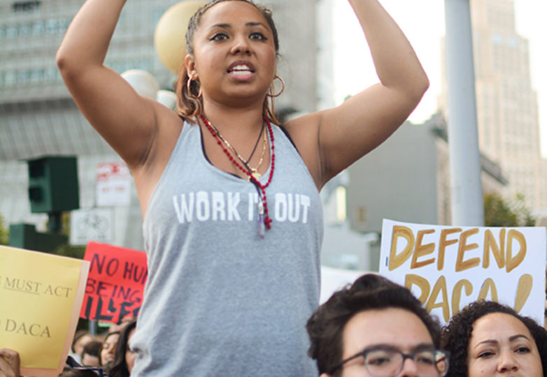 "Janette Vazquez, 28, a DACA recipient from San Francisco, who works as a personal trainer, chants at an emergency DACA rally at the intersection of Mission and 7th streets on Sept. 5, following President Trump's decision to end the program. Vazquez said that she was ""fighting not only for my rights but everyone's because we are Dreamers … fighting for a better future."" Photo: Aaron Levy-Wolins"