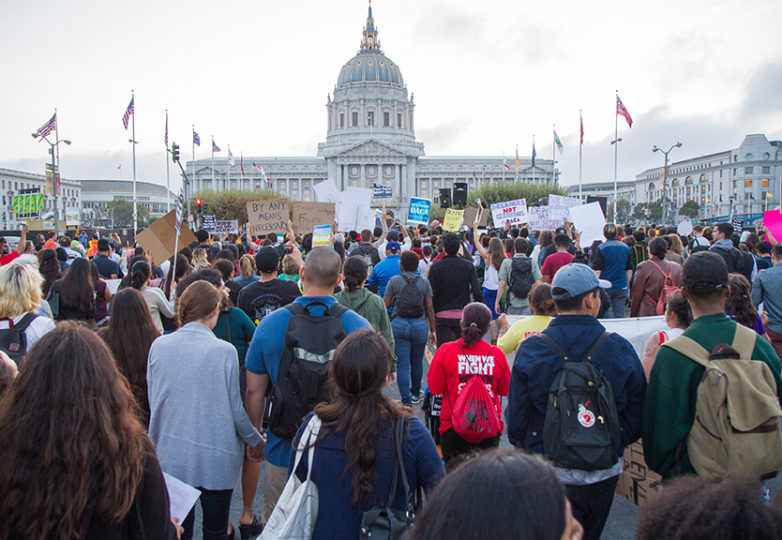 Thousands demonstrated in San Francisco on Sept. 5, 2017 only hours after Attorney General Jeff Sessions announced the termination of DACA. Protesters began their demonstration at the Federal Building and later marched on City Hall. Photo: Drago Rentería