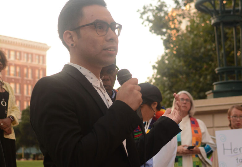Gerardo Gomez, 22, a political science major at San Francisco State University and a fellow at the Office of Civic Engagement and Immigrant Affairs – assigned to work for Pangeo Legal Services – who lives in San Francisco, Calif. and is originally from Mexico, speaks at an emergency vigil for DACA recipients at Frank Ogawa Plaza in Oakland, Calif. on Thursday, August 31, 2017.  The vigil was called amid reports that in the coming days, even as soon as tomorrow, President Donald Trump will end the DACA program. Photo: Aaron Levy-Wolins
