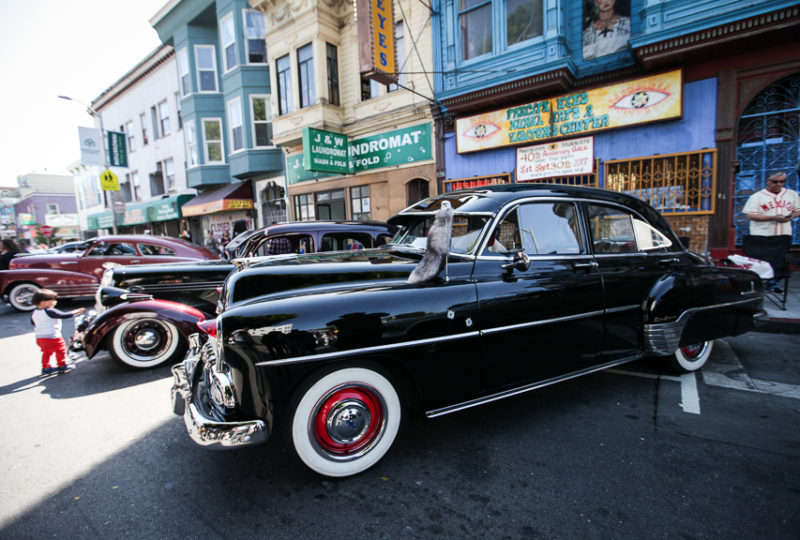 Many of classic lowriders are on display on 24th Street as part of the Lowrider Car Show during the Calle 24 Fiesta de las Américas festival on Sunday, Sept. 17, 2017 in San Francisco's Mission District. (Photo by Ekevara Kitpowsong)
