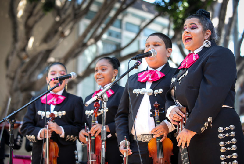 "Mariachi Juvenil ""La Misión"" music group performs on Brava Stage at 24th and Hampshire Streets during the Calle 24 Fiesta de las Américas festival in San Francisco's Mission District, Sunday, Sept. 17, 2017. (Photo by Ekevara Kitpowsong)"
