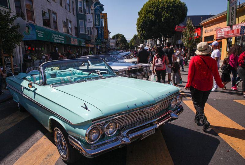 Classic lowriders on display on 24th Street as part of the Lowri