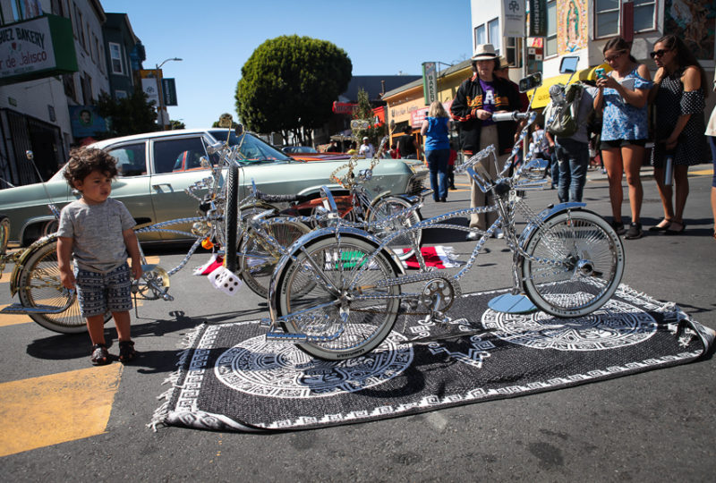 Lowrider bicycles are on display on 24th Street as part of the L